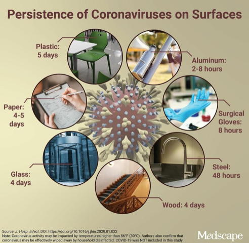 Coronaviruses on Surfaces